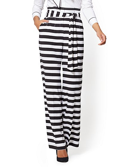 7th Avenue Pant - Paperbag-Waist Palazzo - Black & White Stripe - New York & Company