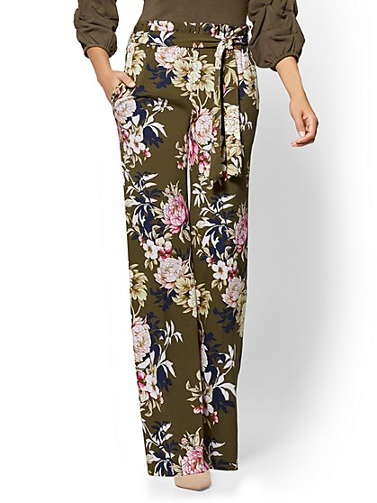 7th Avenue Pant - Paperbag-Waist Palazzo - Floral - New York & Company