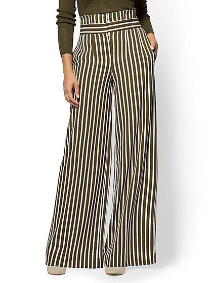 7th Avenue Pant - Paperbag-Waist Palazzo - Stripe - New York & Company