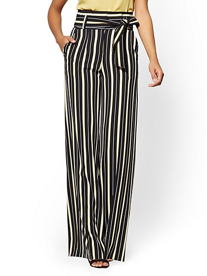 7th Avenue Pant - Paperbag-Waist Palazzo - Yellow - Stripe - New York & Company