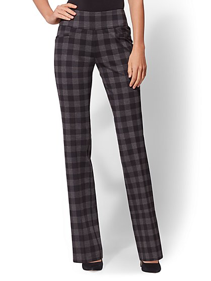 7th Avenue Pant - Petite Black Check Print Bootcut - Signature - Pull-On - New York & Company