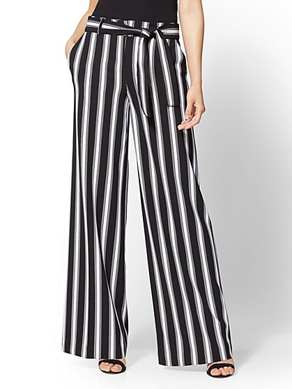 7th Avenue Pant - Petite Black & White Stripe Palazzo - New York & Company