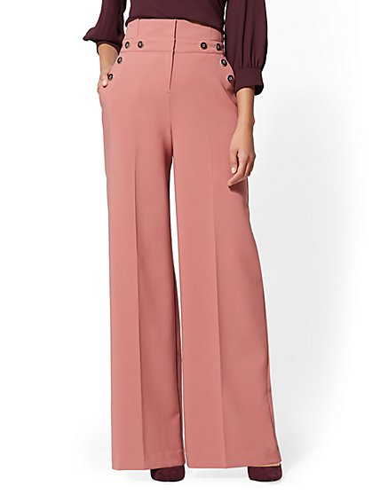 7th Avenue Pant - Petite Button-Accent Palazzo - New York & Company