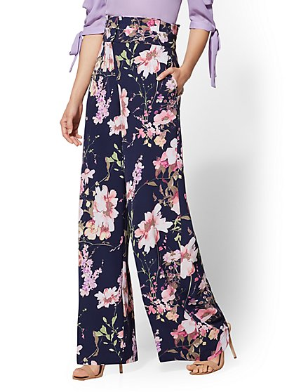 7th Avenue Pant - Petite Floral Paperbag-Waist Palazzo - New York & Company