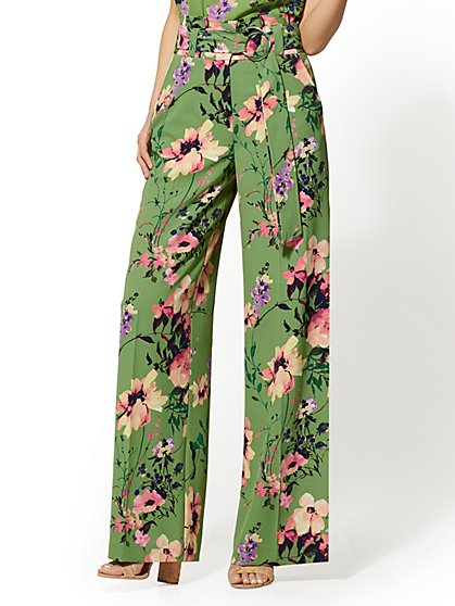 7th Avenue Pant - Petite Green Floral Palazzo Pant - New York & Company