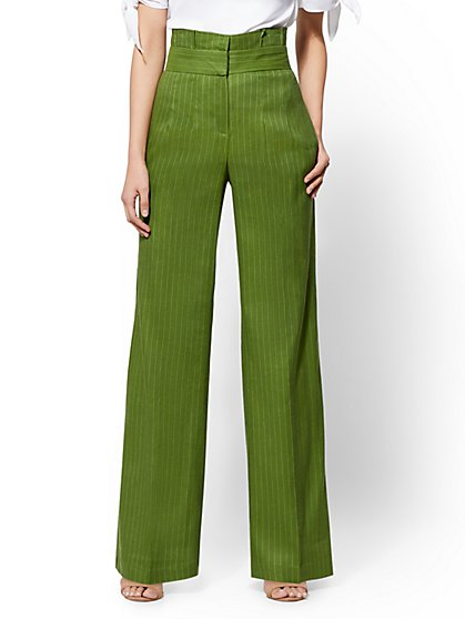 7th Avenue Pant - Petite Green Paperbag-Waist Palazzo - New York & Company