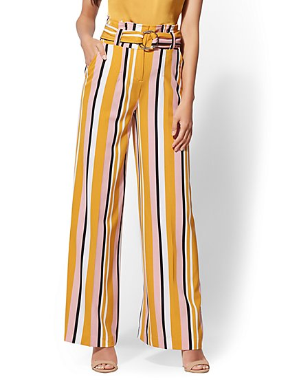 7th Avenue Pant - Petite Stripe Palazzo - New York & Company