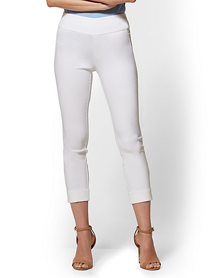 7th Avenue Pant - Petite White High-Waist Pull-On Crop - New York & Company