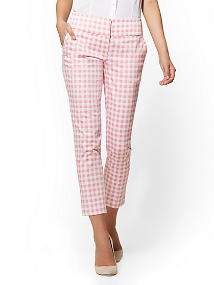 7th Avenue Pant – Pink Gingham Ankle – Modern - New York & Company
