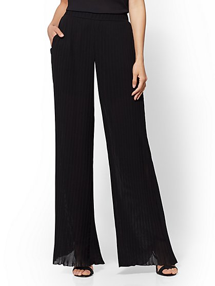 7th Avenue Pant - Pleated Overlay Palazzo - New York & Company