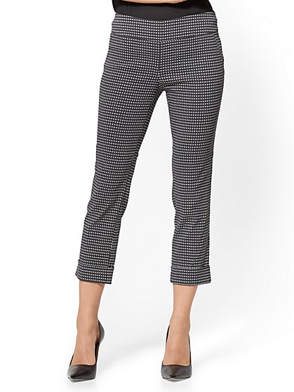 7th Avenue Pant - Pull-On Crop - Legging - Black & White - Grid Print - New York & Company