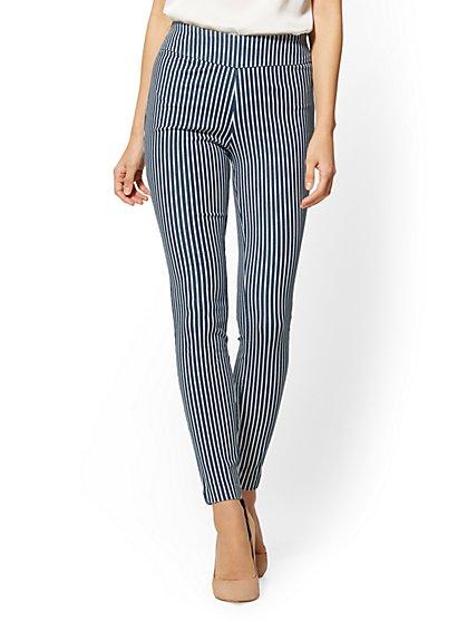 7th Avenue Pant - Pull-On Legging - Blue & White Stripe - New York & Company