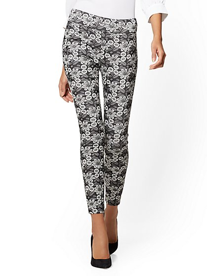 7th Avenue Pant - Pull-On Legging - Floral Jacquard - New York & Company