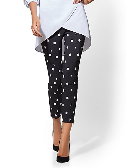 7th Avenue Pant - Pull-On Slim-Leg Ankle - Modern - Dot Print - New York & Company
