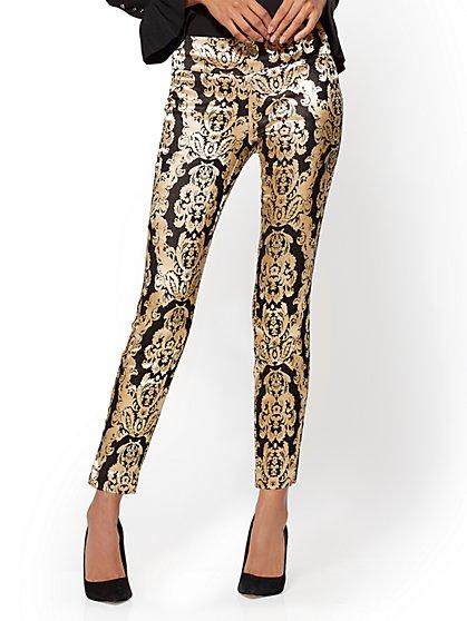 7th Avenue Pant - Pull-On - Slim-Leg - Black Jacquard - New York & Company