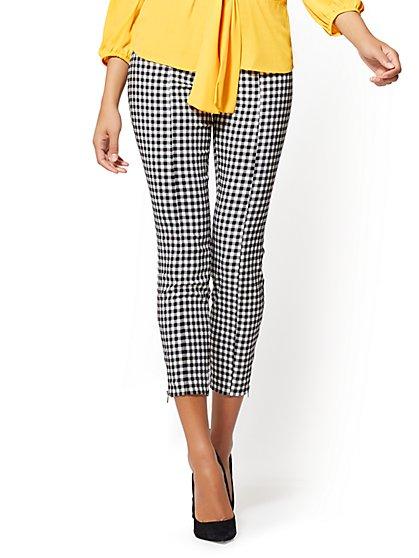 7th Avenue Pant - Pull-On Slim Leg - Modern - Gingham - New York & Company