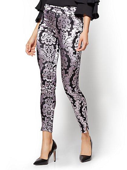 7th Avenue Pant - Pull-On - Slim-Leg - Signature - Lavender Brocade - New York & Company