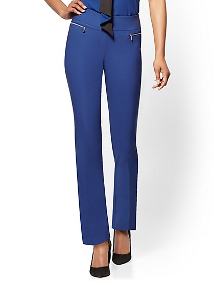 7th Avenue Pant - Pull-On Straight Leg – Zip Accent - New York & Company