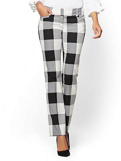 7th Avenue Pant - Straight Leg - Signature - Gingham - New York & Company