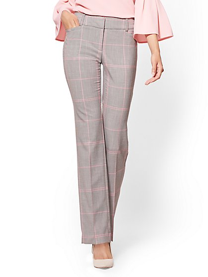 7th Avenue Pant - Straight Leg - Signature - Grey Houndstooth - New York & Company