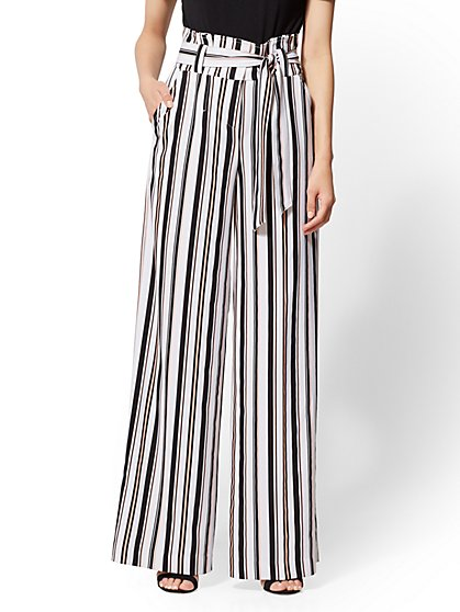 7th Avenue Pant - Stripe Paperbag-Waist Palazzo - New York & Company