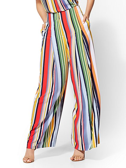 7th Avenue Pant - Stripe Pleated Palazzo - New York & Company
