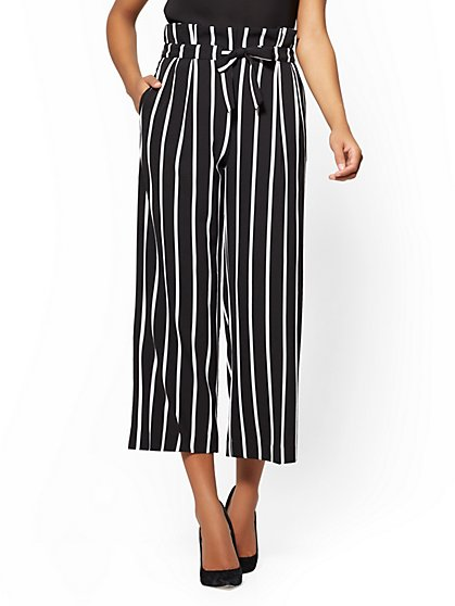 7th Avenue Pant Striped Belted Culotte - New York & Company
