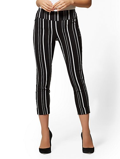 7th Avenue Pant - Striped High-Waist Pull-On Crop - New York & Company
