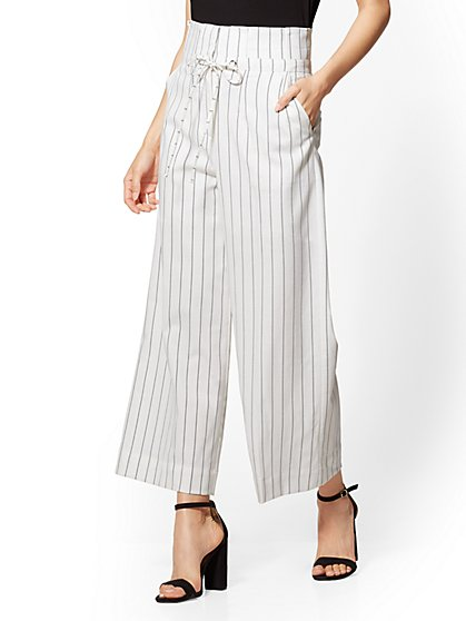 7th Avenue Pant - Striped Paperbag-Waist Culotte - New York & Company