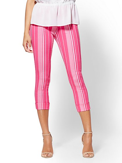 7th Avenue Pant - Striped Pull-On Crop - New York & Company