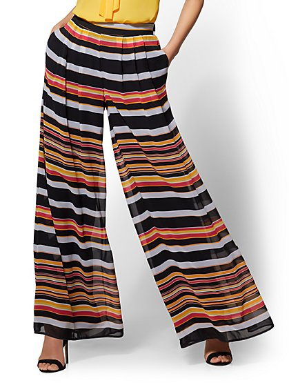 7th Avenue Pant - Striped Skirted Palazzo - New York & Company