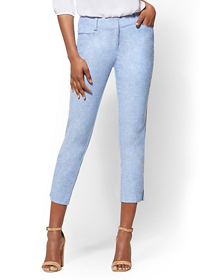 7th Avenue Pant - Tall Crop Straight Leg Signature - Blue Linen - New York & Company
