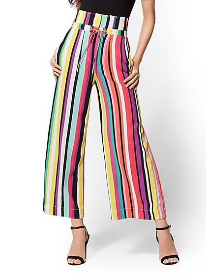 7th Avenue Pant - Tall Stripe Crop Palazzo - Signature - New York & Company