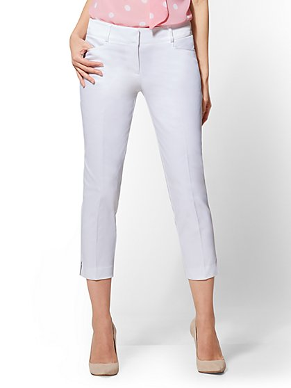 7th Avenue Pant - Tall White Crop Straight-Leg - Signature - New York & Company
