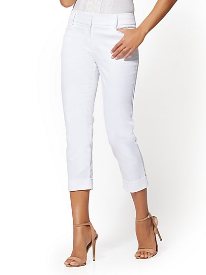 7th Avenue Pant - White Crop Slim Leg - Modern - New York & Company
