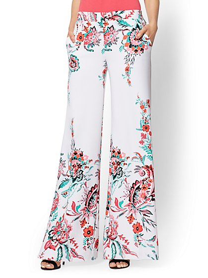 7th Avenue Pant - White Floral Palazzo - New York & Company