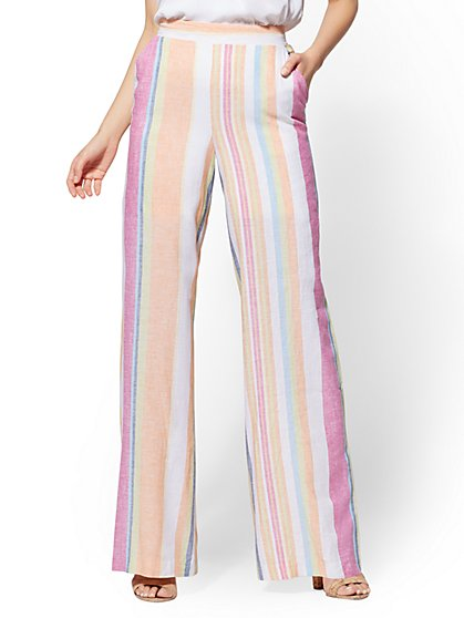 7th Avenue Pant - White Stripe Palazzo - New York & Company