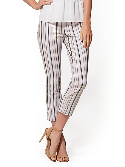7th Avenue Pant - White Stripe Pull-On Crop - New York & Company