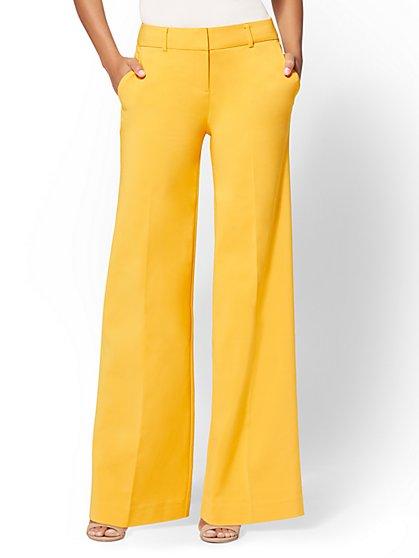7th Avenue Pant - Yellow Petite Wide-Leg - All-Season Stretch - New York & Company