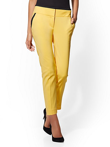7th Avenue Pant - Yellow Piped Ankle - Modern - All-Season-Stretch - New York & Company
