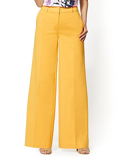 7th Avenue Pant - Yellow Wide-Leg - All-Season Stretch - New York & Company