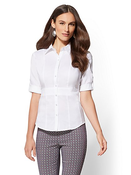 7th Avenue - Petite 3/4-Sleeve Madison Stretch Shirt - New York & Company