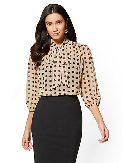 7th Avenue Petite Bow-Accent Blouse - Dot Print - New York & Company