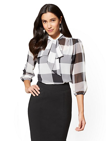 7th Avenue Petite Bow-Accent Blouse - Gingham - New York & Company
