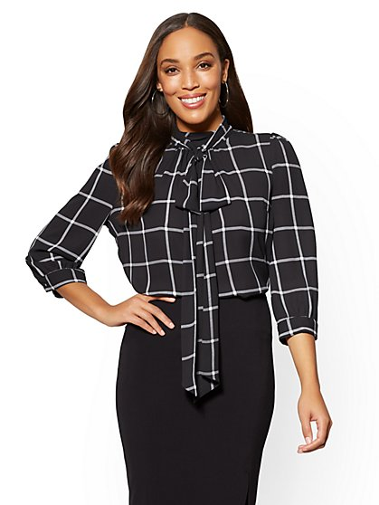 7th Avenue Petite Bow-Accent Blouse - Windowpane-Check Print - New York & Company