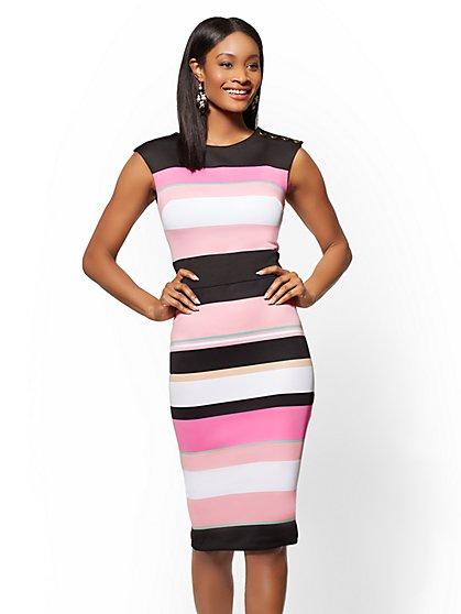 7th Avenue - Petite Button-Accent Striped Sheath Dress - New York & Company