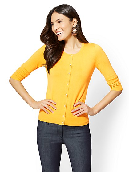 7th Avenue - Petite Chelsea Crewneck Cardigan - Textured Buttons - New York & Company