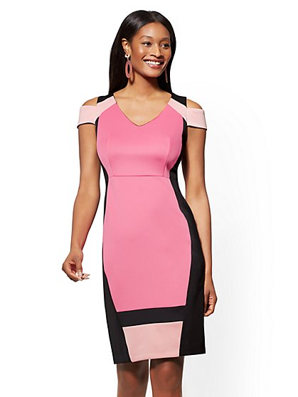 7th Avenue - Petite Colorblock Cold-Shoulder Sheath Dress - New York & Company