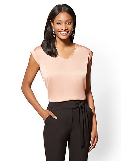 7th Avenue Petite Cuffed-Sleeve V-Neck Blouse - New York & Company