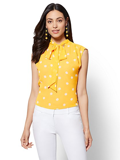 7th Avenue - Petite Dot-Print Bow Blouse - New York & Company